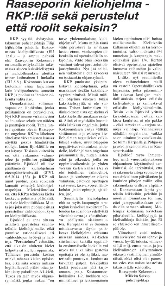 Raaseporin kieliohjelmasta EU 19.6.2014