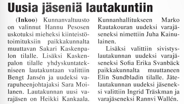 Uusia jäseniä lautakuntiin 15.10.2015